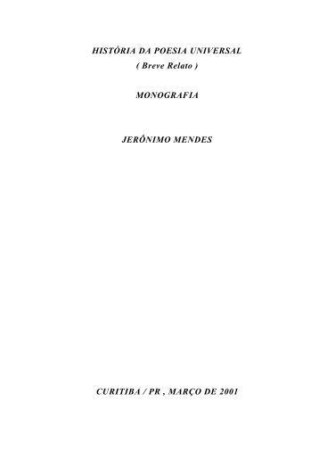 HISTÓRIA DA POESIA UNIVERSAL ( Breve Relato ) MONOGRAFIA ...
