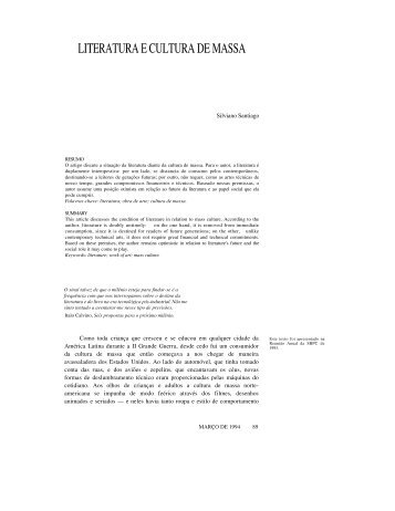 LITERATURA E CULTURA DE MASSA - Revista Novos Estudos