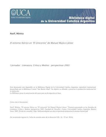 """El entorno feérico en """"El Unicornio"""" de Manuel Mujica Láinez"""