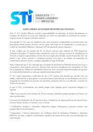 carta aberta - Sindicato dos Trabalhadores dos Impostos