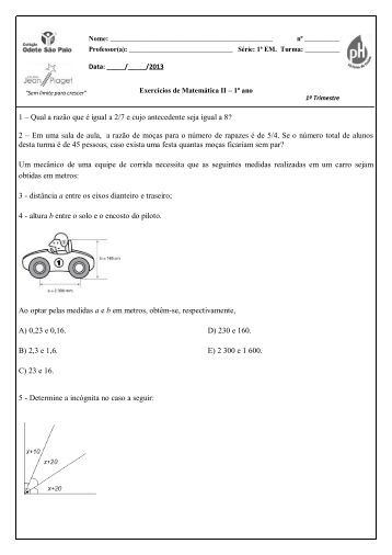 Matemática II 1º ano - Colégio Odete São Paio