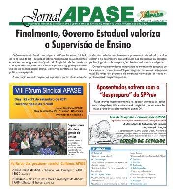 Jornal Apase - Ano XXII nº 213 - Agosto de 2011