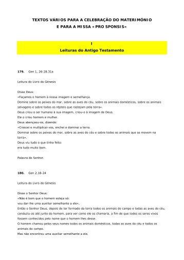 Textos do Ritual do Matrimónio - Paróquia de Santa Maria de Tondela