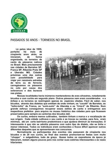 PASSADOS 50 ANOS - TORNEIOS NO BRASIL - Canto e Fibra
