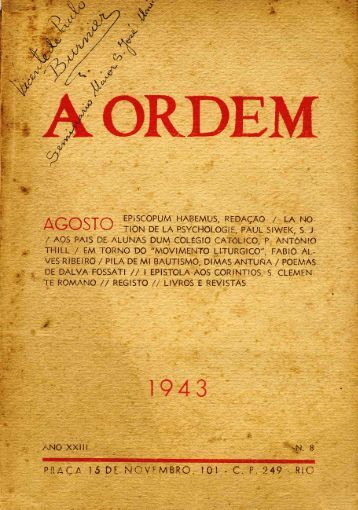 "Revista ""A Ordem"" - Agosto 1943"