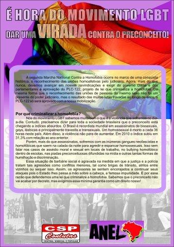 Por que criminalizar a homofobia? - CSP-Conlutas