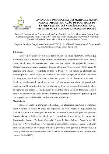 AVANÇOS E DESAFIOS DA LEI MARIA DA PENHA PARA A ... - pucrs