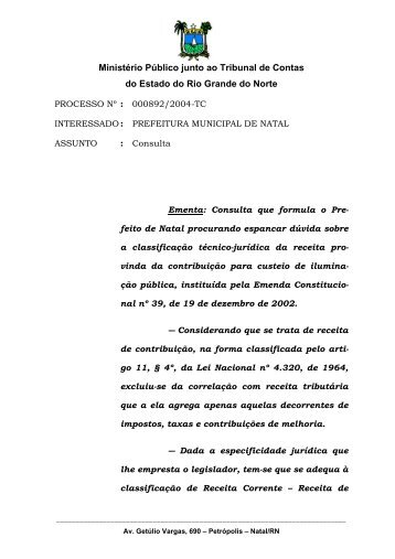 Parecer da Procuradoria - TCE / RN