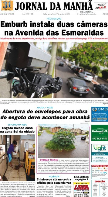 Emburb instala duas câmeras na Avenida das ... - Jornal da Manhã