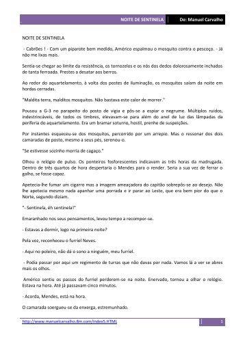 NOITE DE SENTINELA De: Manuel Carvalho NOITE DE ... - Ultramar