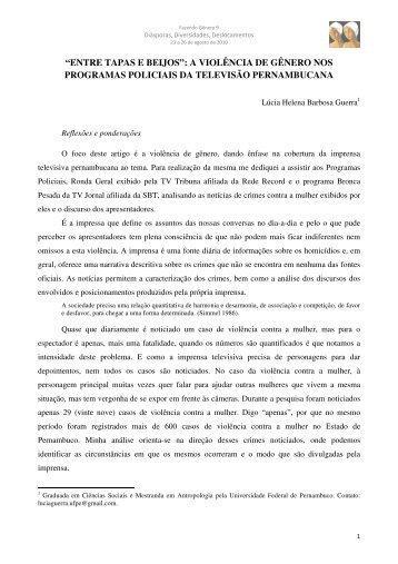 """""""ENTRE TAPAS E BEIJOS"""": A VIOLÊNCIA DE GÊNERO NOS ..."""