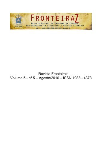 Revista Fronteiraz Volume 5 - nº 5 – Agosto/2010 – ISSN ... - PUC-SP