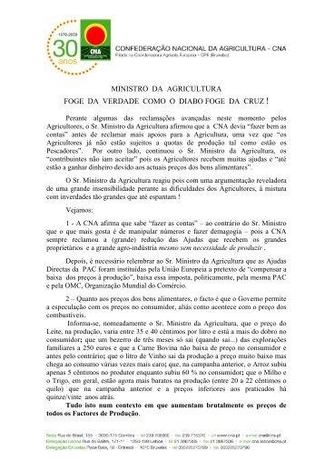 MINISTRO DA AGRICULTURA FOGE DA VERDADE COMO ... - CNA