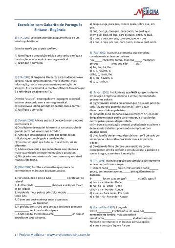 Regência - Projeto Medicina