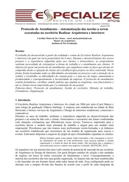 Protocolo de Atendimento – sistematização das tarefas a ... - IPOG