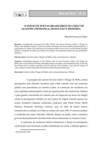 O EXÍLIO DE POETAS BRASILEIROS NO CHILE DE ... - fflch - USP