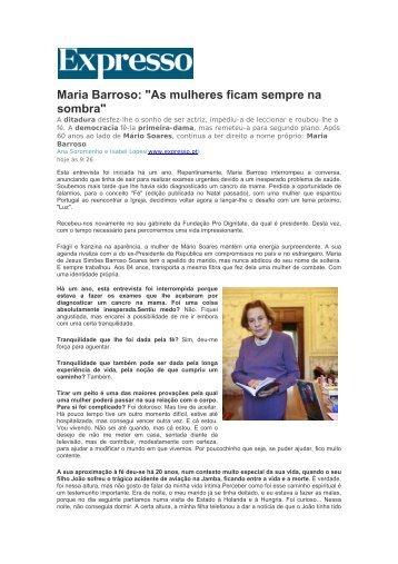 """Maria Barroso: """"As mulheres ficam sempre na sombra"""""""