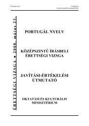 PORTUGÁL NYELV JAVÍTÁSI-ÉRTÉKELÉSI ÚTMUTATÓ