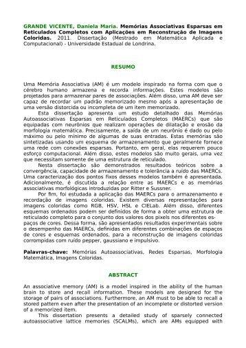 resumo e abstract - Universidade Estadual de Londrina