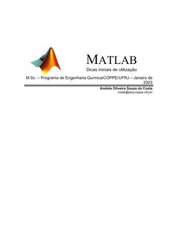 Dicas de utilização do MATLAB - Programa de Engenharia Química ...
