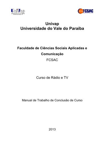 Manual de TCC do curso de RTV - Univap