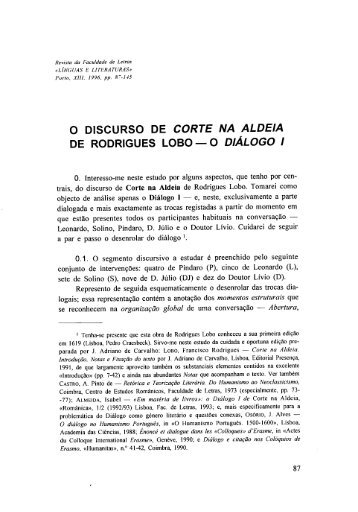 O discurso de Corte na Aldeia de Rodrigues Lobo