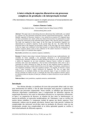 A inter-relação de aspectos discursivos em processos ... - GEL