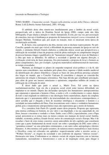 TOSO, MARIO – Umanesimo sociale. Viaggio nella dottrina sociale ...