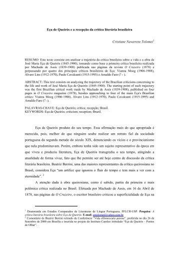 Eça de Queirós e a recepção da crítica literária brasileira. - fflch - USP