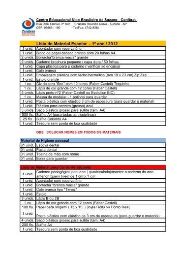 Lista de Material Escolar - 1º ano / 2012 - CENIBRAS
