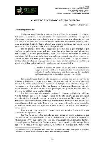 ANÁLISE DO DISCURSO DO GÊNERO PANFLETO ... - pucrs