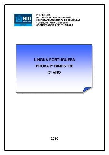 língua portuguesa prova 2º bimestre 5º ano 2010 - Portal da ...