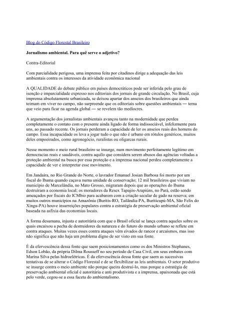 Contra-Editorial - Codigo Florestal Brasileiro