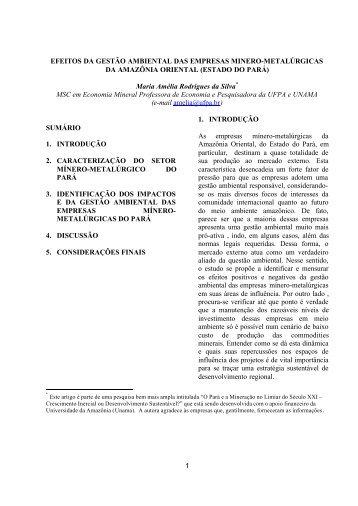 1 EFEITOS DA GESTÃO AMBIENTAL DAS EMPRESAS MINERO ...
