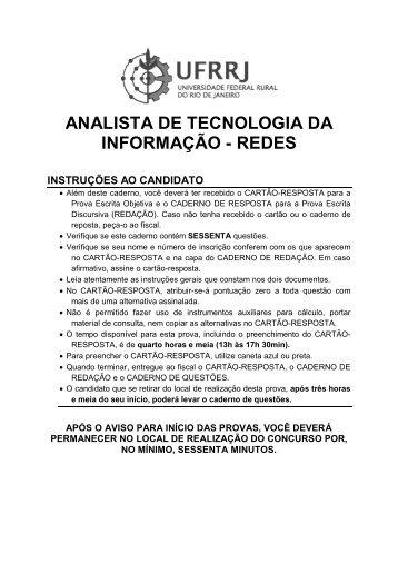 PROVA - Analista de Tecnologia da Informação / Redes - UFRRJ