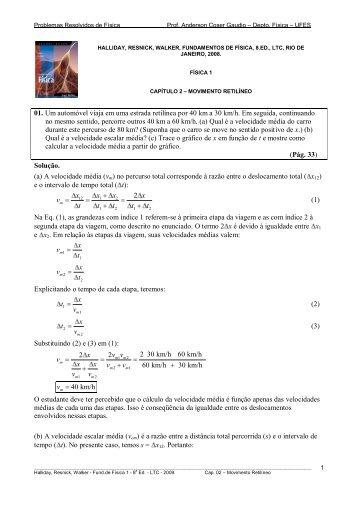 Problemas Resolvidos de Física - Departamento de Física - UFPB