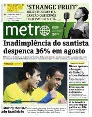 Inadimplência do santista despenca 36% em agosto - Metro