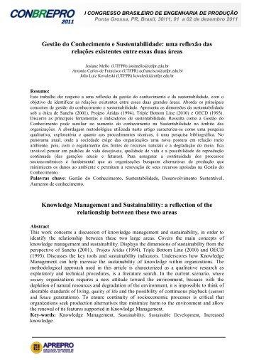 Gestão do Conhecimento e Sustentabilidade: uma ... - APREPRO