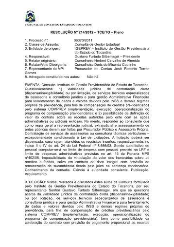 resolução nº 214-2012 - Tribunal de Contas do Estado do Tocantins