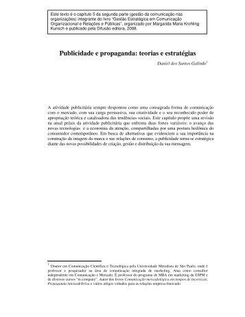 Publicidade e propaganda: teorias e estratégias - daniel galindo