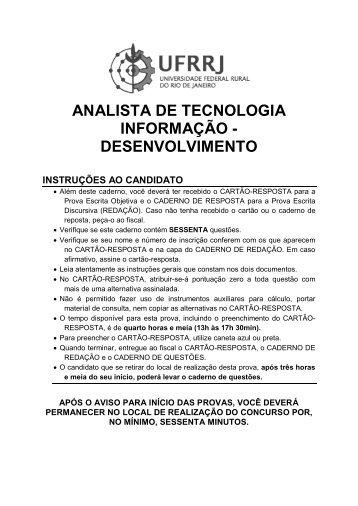 analista de tecnologia informação - desenvolvimento - UFRRJ