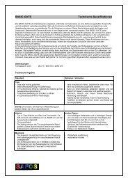 BASIC-GATE Technische Spezifikationen - SAFOS Kläy & Co. AG