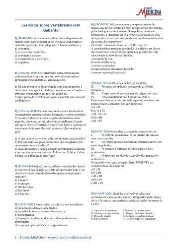 Exercícios sobre Vertebrados com Gabarito - Projeto Medicina
