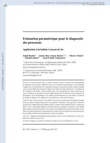 Estimation paramétrique pour le diagnostic des processus