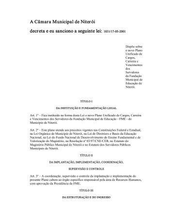 lei: 1831/17 05 2001 - Fundação Municipal de Educação de Niterói