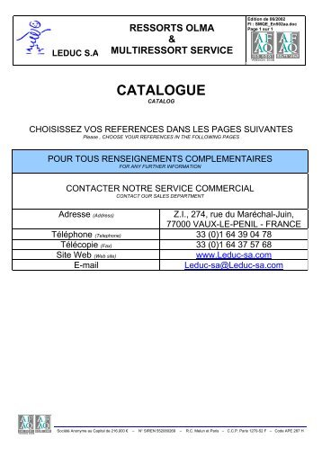 CATALOGUE - Leduc