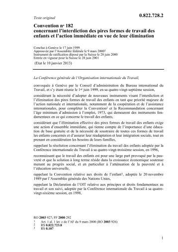 Convention no 182 concernant l'interdiction des pires ... - admin.ch