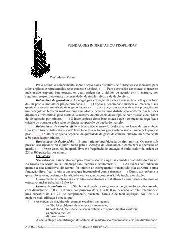 fundações profundas - Prof. Marco Pádua Home Page