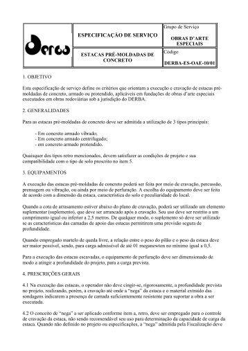 ESPECIFICAÇÃO DE SERVIÇO - DERBA