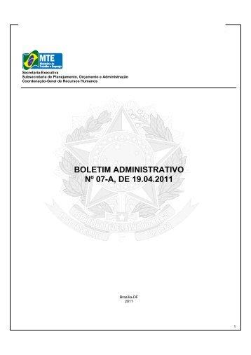 boletim administrativo nº 07-a, de 19.04 - Ministério do Trabalho e ...